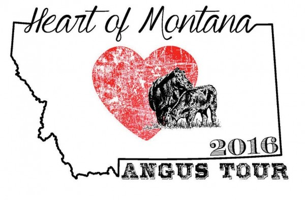 A logo comprised of a heart and cattle silhouette framed in a Montana outline.