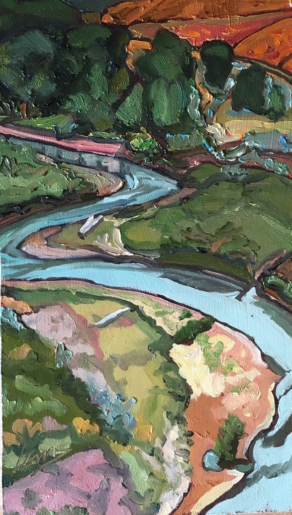 A painted scene shows a river running from the edge of a forest through a flat prairie like expanse towards the viewer.