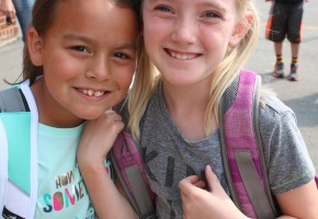 "Autumn Goodan, left, and Dakota Heitzman, 3rd grade: ""We liked hanging out and having fun with friends again."" Autumn added that she also liked learning."